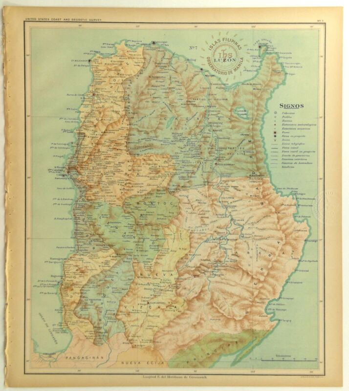 1899 Official Stamped US Navy Jesuit Observatory Map Philippine Islands LUZON
