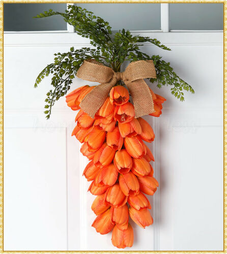 Easter Tulip Carrot Wall Door Swag Wreath Spring Greenery Hanging Home Decor