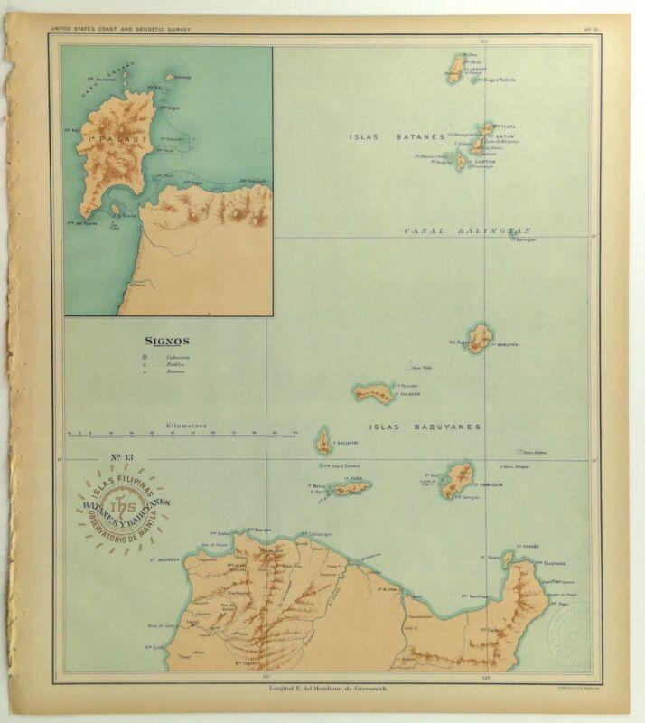 1899 US Navy Jesuit Observatory Map Philippine Islands Batanes Babuyanes Palaui
