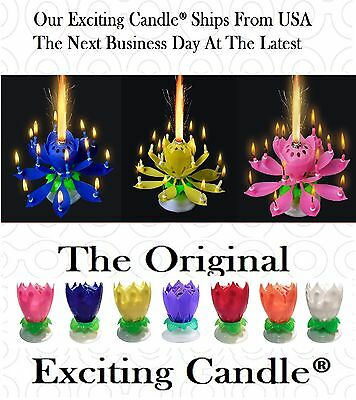 Pink, Yellow, Blue, EXCITING Happy Birthday Lotus Flower Candles SHIPS FROM USA