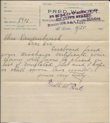 40 Plus Pension Docs, Billfold, Booklet, Charles Van Der Broek 15th Missouri Inf