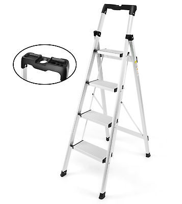 Step Ladder Lightweight Multi Portable Folding Ladder 4 Step Tool Project Tray