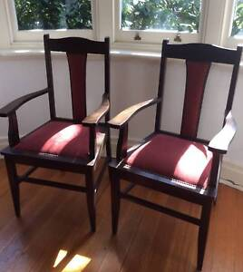 2 Wooden Carver Chairs Retro, Top Condition, Hand Upholstered
