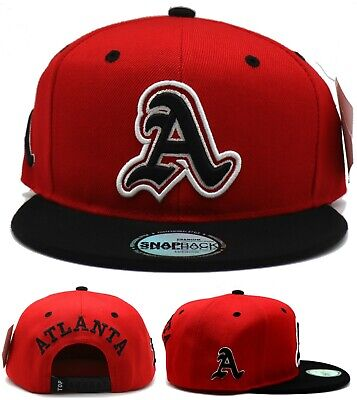 Atlanta New Leader Top Pro 3D Initial Script A Red Black Era Snapback Hat Cap