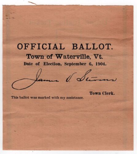 1904 WATERVILLE VERMONT Political Ballot UNION JUSTICE Party VT Justice Peace