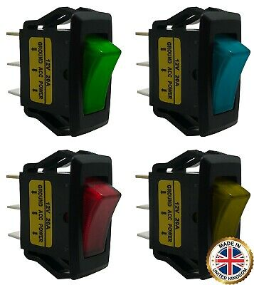 4 Piece Green Blue Red Amber Illuminated On - Off Rocker Switch 12v Spst Kit