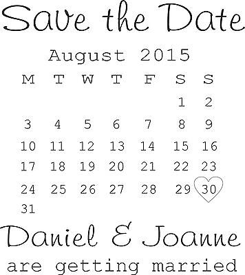 PERSONALISED SAVE THE DATE RUBBER STAMP WEDDING ENGAGEMENT CELEBRATION (11622)