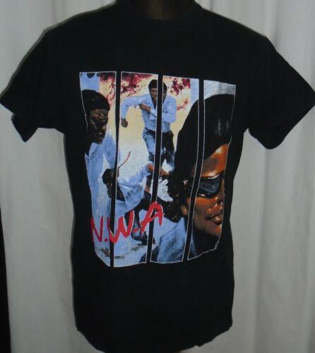 "Original Vintage 1990 N.W.A. ""100 MILES AND RUNNIN"" RAP ALBUM MUSIC BLACK TSHIRT"