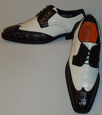 Mens Black + White Classy Old School Wingtip Dress Shoes Antonio Cerrelli 6431 - Classy Dress Shoes