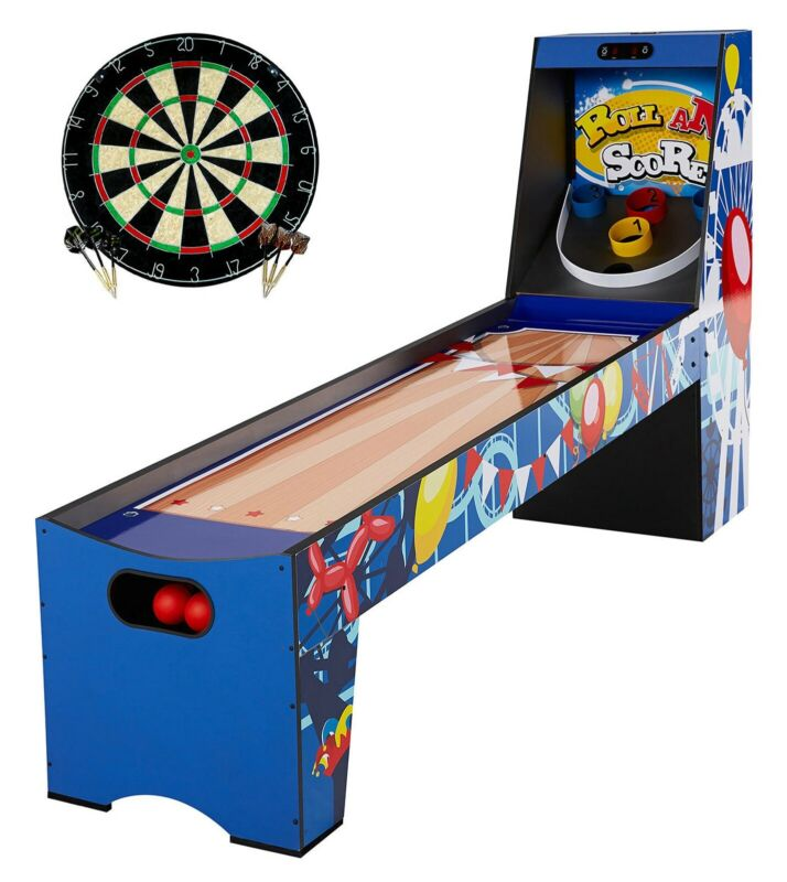 """87"""" Roll and Score Wood Skee Ball Arcade Game Table + Dart Board"""