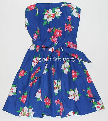 🌸 NWT HOLLISTER by Abercrombie Womens Floral Flower Summer Sun Dress Blue XS