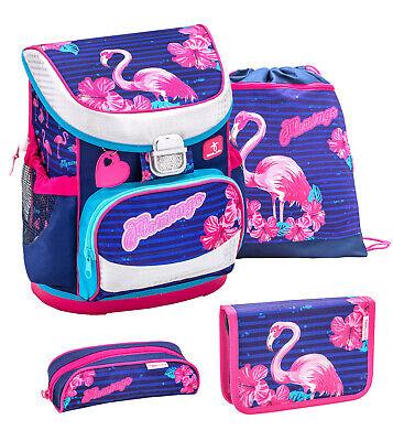 Flamingo Schulranzen SET 4tlg Schulrucksack Tornister für Mädchen Grundschule