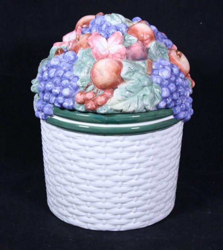 Vintage Epoch Collection Ceramic Fruit Basket Cookie Jar