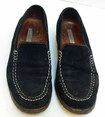Oscar de la Renta Women's Black Suede Loafer with White Stitching Size 37.5