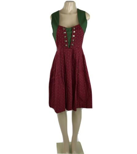 Dirndl Dress Womans Size 40 Red Green Print Coin Buttons Oktoberfest Bavarian