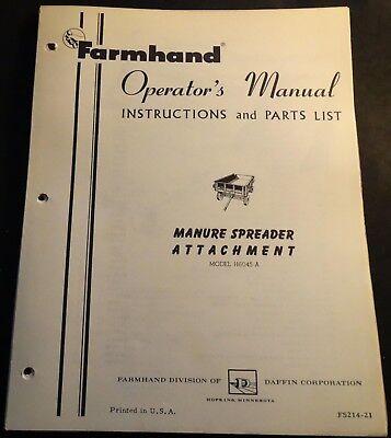 Farmhand Manure Spreader Attachment Fs214-21 Operators And Parts Manual 510