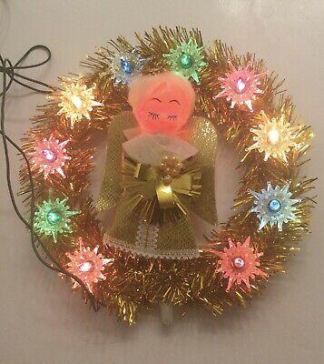 Vintage Noma Tinsel Light Up Angel Tree Topper Wreath Christmas