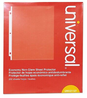 Universal Top-load Poly Sheet Protectors Nonglare Economy Letter 200box