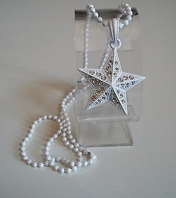 - White Painted Finish  CZ STAR  Pendant with Complementary  Chain