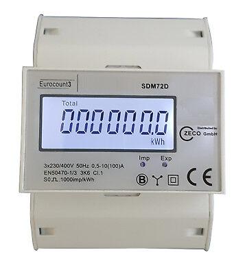 Drehstromzähler Stromzähler S0 LCD 100A für DIN Hutschiene *** PORTOFREI***