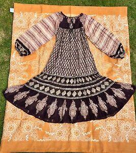 Vintage 70s Indian Cotton Block Print Gauze Dress XS S 6 8 10 Boho Hippy Folk