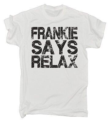 Frankie Says Relax Distressed Logo MENS T Shirt - birthday retro fancy dress 80s (80s Sayings)