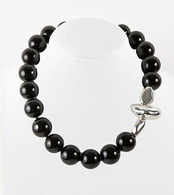 Simon Sebbag Chunky Black Onyx Beads Sterling Silver Pendant Necklace