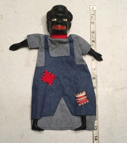 ANTIQUE  BLACK AMERICANA  HAND PUPPET = PUNCH & JUDY WOOD HAND CARVED BIG HEAD