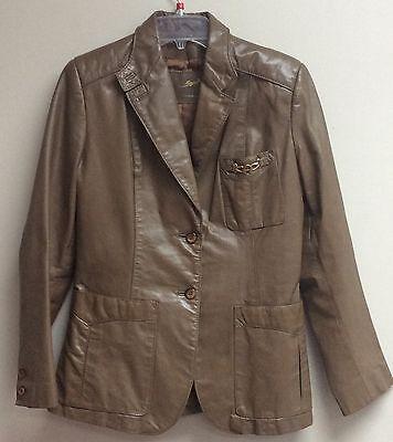 Etienne Aigner Womens Leather Coat Size 12 Brown Jacket Two Button Blazer (Womens Two Button Leather Blazer)