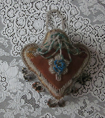 Antique Vintage Beaded Velvet Pin Cushion Sewing Iroquois