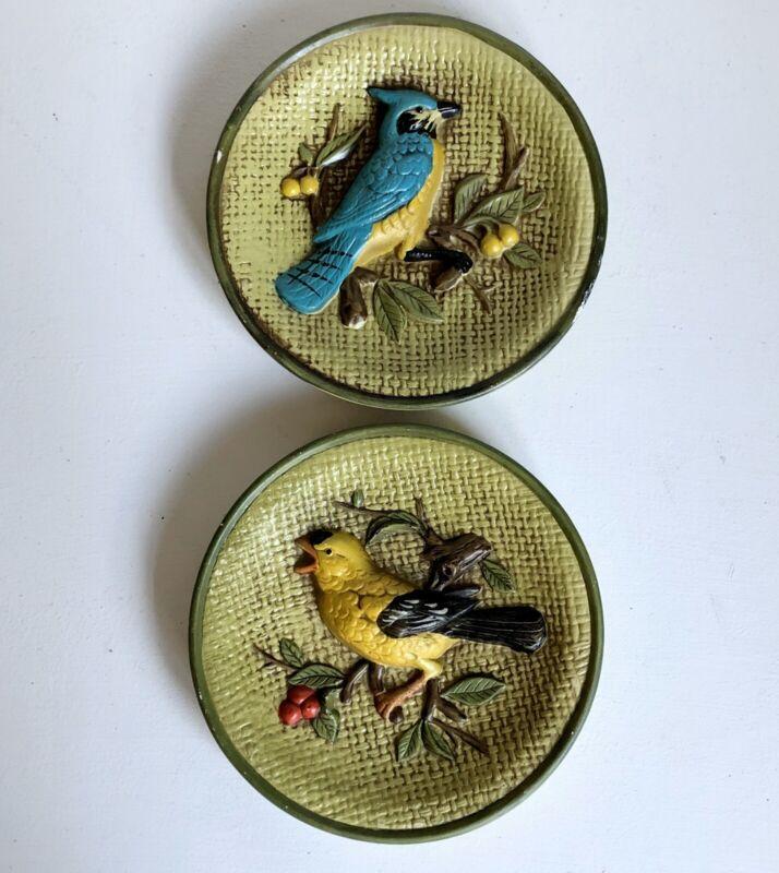 "Bird Wall Plaque 2 Blue Jay Yellow 6"" Vtg Japan Porcelain Ceramic Pair"