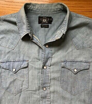 RRL selvedge chambray blue MOP pearl snap western shirt size Medium / Small