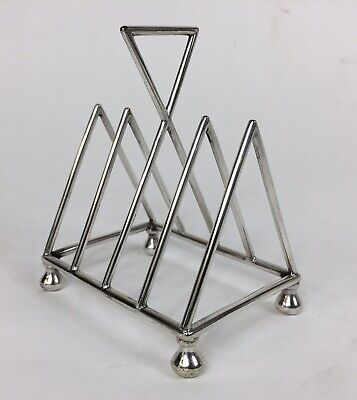 Antique 'Christopher Dresser' silver plate toast rack, aesthetic movement