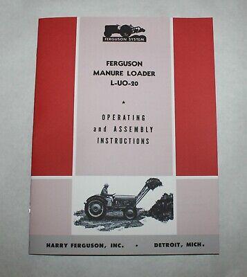 Ferguson L-uo-20 Tractor Manure Loader Operators Owners Manual