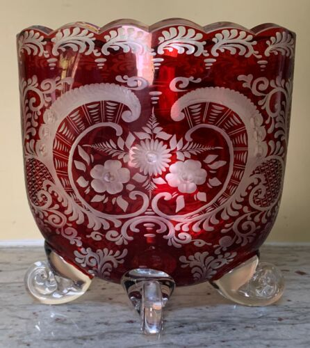 Egermann Bohemia Crystal Etched Floral Ruby Red Cut-to-Clear Footed Oval Vase