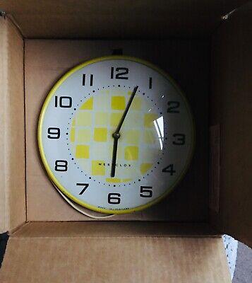 RARE Westclox 1960s Boxed Vintage Wall Clock Bright Yellow Mains Powered