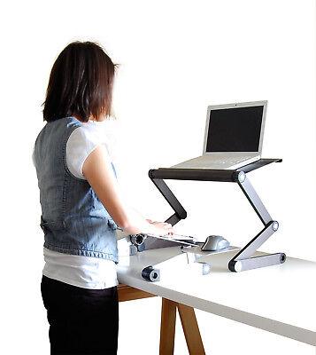 WorkEZ Standing Desk Conversion Kit with 2 fans 3 usb ports laptop stand riser ()