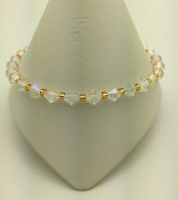 Crystal AB and Gold Stretch Ankle Anklet Bracelet