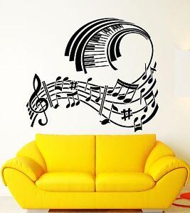 Wall Sticker Vinyl Decal Piano Sheet Music Modern Style Room Decor Ig1271