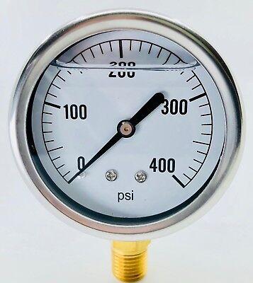 New In Box Hydraulic Liquid Filled Pressure Gauge 0-400 Psi