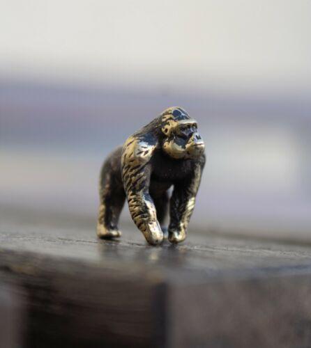 Gorilla Figurine Brass Handmade Small Collectible Monkey Sculpture Miniature
