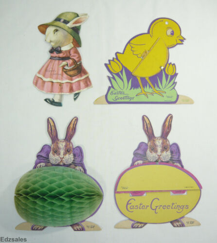 4 Vintage Easter Greetings Holiday Paper Decorations