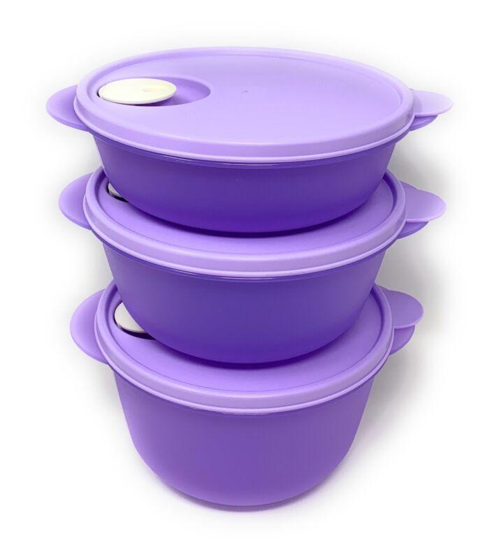 Tupperware Crystalwave 3 Piece Microwave Bowl Set w/ Lids NEW