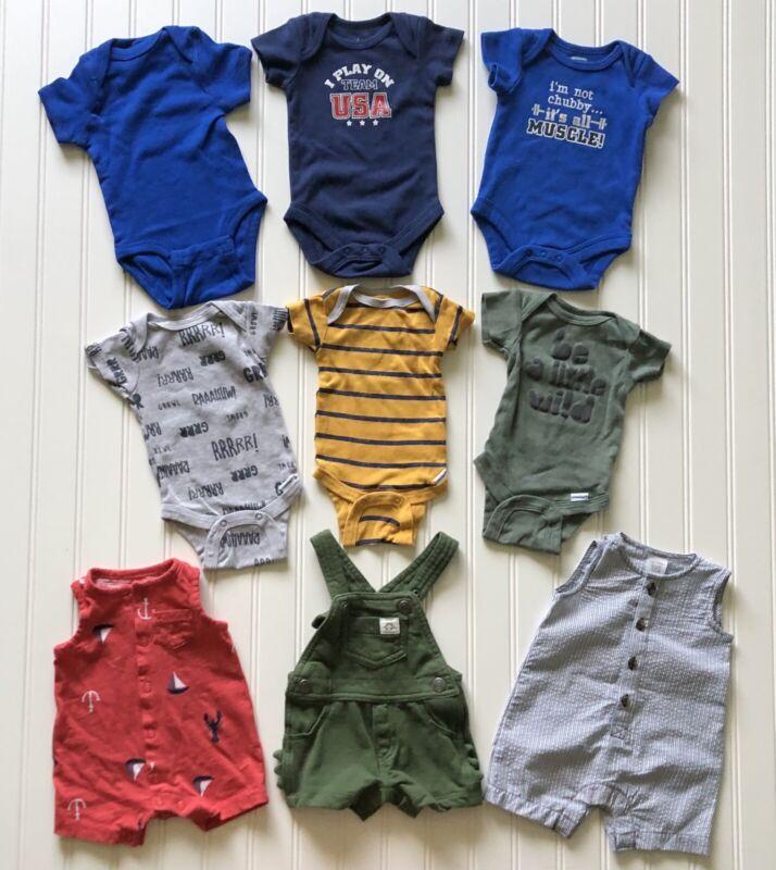 Baby Boy One Piece Bodysuits Rompers Overall Newborn Lot Of Nine Carter's Gerber