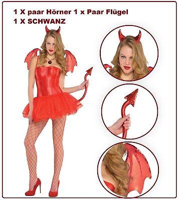 Damen metallische Roter Teufel sexy Zubehör Set Halloween Himmel Hölle Engel