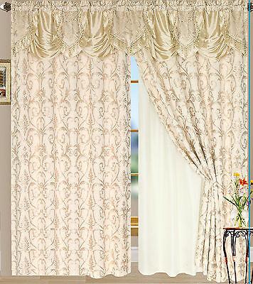 Luxury Lined Curtain Drapes Set Valance+Sheer Window Treatment 2 Panel Tiffany
