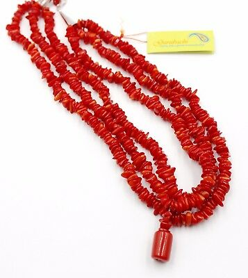 GURUBACHI RED Three Strand Pendant Necklace Sterling Silver Handcrafted 32