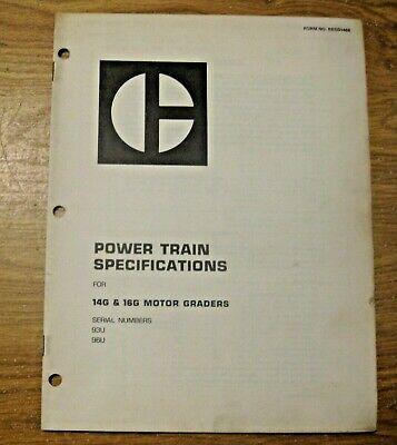 Vintage 1973 Caterpillar 14g 16g Graders Power Train Specs Manual Construction
