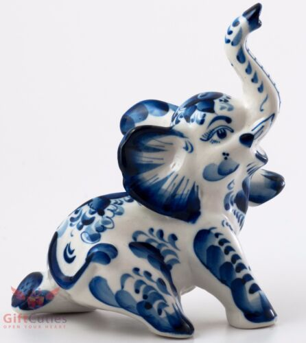 Happy Elephant Collectible Gzhel style Porcelain Figurine hand-painted