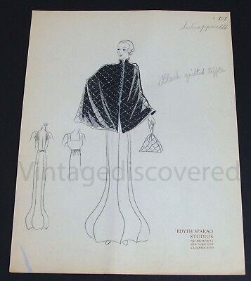 1930's Vintage Fashion Design Original Art Color Drawing~Schiaparelli Design